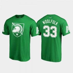 #33 Men White Logo Fanatics Branded St. Patrick's Day Darnell Woolfolk USMA T-Shirt Kelly Green