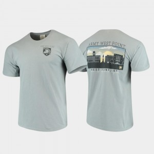 For Men's United States Military Academy T-Shirt Gray Comfort Colors Campus Scenery