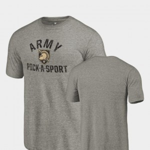 For Men Pick-A-Sport Tri Blend Distressed Gray Army T-Shirt