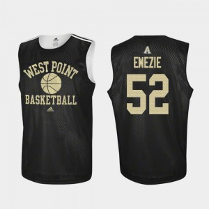 John Emezie United States Military Academy Jersey Adidas College Basketball #52 Black For Men Practice