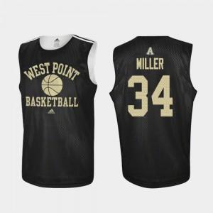 Adidas College Basketball #34 Practice Black John Miller Army Jersey For Men's