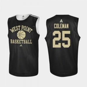 Black Practice Adidas College Basketball #25 Jordan Coleman Army Jersey For Men's