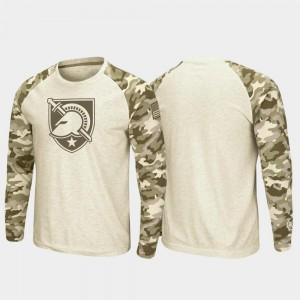 For Men's OHT Military Appreciation Oatmeal Raglan Long Sleeve Desert Camo United States Military Academy T-Shirt