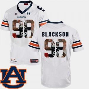 Football #98 Angelo Blackson Auburn University Jersey Pictorial Fashion White Men's