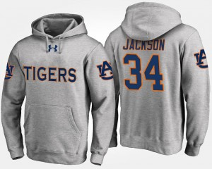 Bo Jackson Auburn Hoodie #34 Gray For Men Name and Number