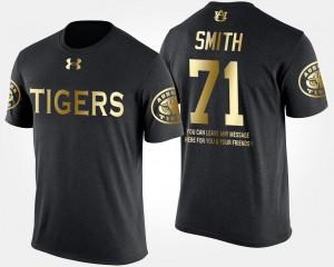 Black #71 Short Sleeve With Message Gold Limited For Men Braden Smith Auburn University T-Shirt