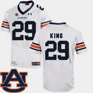 College Football #29 Brandon King Tigers Jersey SEC Patch Replica Mens White