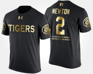 Short Sleeve With Message Black Cam Newton Tigers T-Shirt For Men's Gold Limited #2