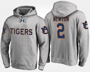 Name and Number Gray Cam Newton Tigers Hoodie #2 For Men's