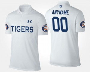 Men's #00 Auburn Tigers Custom Polo White Name and Number