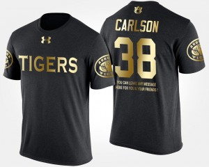 #38 Mens Black Gold Limited Daniel Carlson Auburn Tigers T-Shirt Short Sleeve With Message
