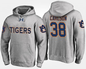 #38 For Men's Gray Name and Number Daniel Carlson Tigers Hoodie