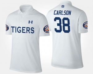 Mens Name and Number White #38 Daniel Carlson Auburn Tigers Polo