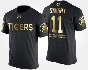 Men Short Sleeve With Message #11 Karlos Dansby Auburn T-Shirt Gold Limited Black