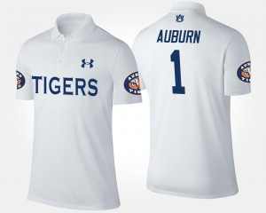 AU Polo Name and Number White For Men's No.1 Short Sleeve #1