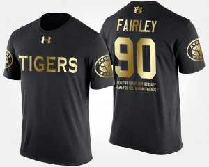 Short Sleeve With Message For Men Black Gold Limited #90 Nick Fairley Auburn T-Shirt