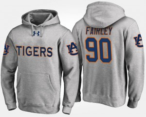 Gray Name and Number Nick Fairley Auburn Tigers Hoodie #90 For Men's