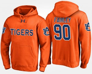 Men Nick Fairley Auburn University Hoodie Orange Name and Number #90