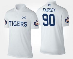 #90 White For Men Name and Number Nick Fairley Auburn University Polo