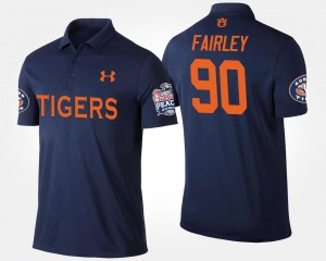 For Men's Nick Fairley Auburn Polo Navy #90 Peach Bowl Name and Number Bowl Game