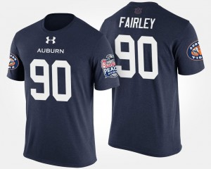 Peach Bowl Nick Fairley Tigers T-Shirt #90 Bowl Game Navy For Men's