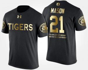 Men Black Short Sleeve With Message Gold Limited #21 Tre Mason Auburn Tigers T-Shirt