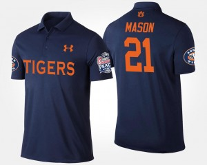 Tre Mason Tigers Polo For Men's Navy #21 Peach Bowl Name and Number Bowl Game