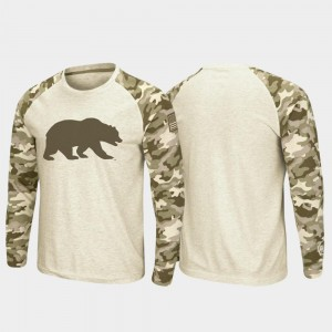 Men's Cal Golden Bears T-Shirt OHT Military Appreciation Oatmeal Raglan Long Sleeve