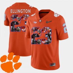#23 Football Orange Pictorial Fashion Andre Ellington Clemson Tigers Jersey Men