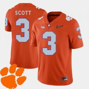 Mens 2018 ACC #3 Artavis Scott Clemson National Championship Jersey Orange College Football