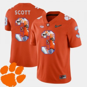 Football Artavis Scott CFP Champs Jersey Pictorial Fashion #3 Orange For Men