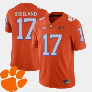 College Football Men #17 Bashaud Breeland Clemson Tigers Jersey 2018 ACC Orange
