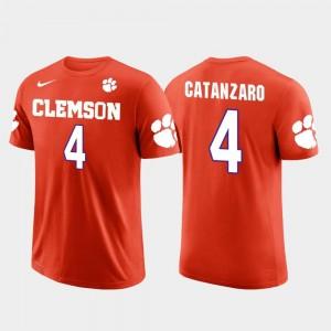 Men Orange #4 Future Stars Chandler Catanzaro Clemson University T-Shirt Carolina Panthers Football