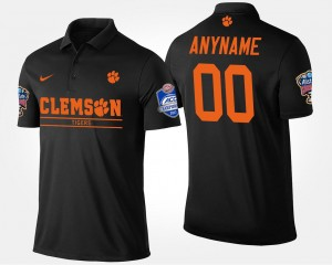 For Men's Clemson Customized Polo #00 Bowl Game Black Atlantic Coast Conference Sugar Bowl Name and Number