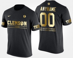 #00 For Men Gold Limited Clemson National Championship Custom T-Shirt Short Sleeve With Message Black