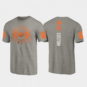 Gray #00 For Men 2018 National Champions Clemson National Championship Customized T-Shirts College Football Playoff Fanatics Branded
