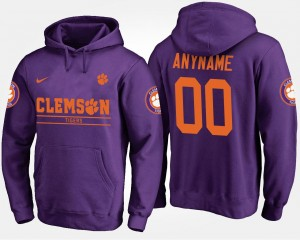 Name and Number Clemson Tigers Customized Hoodies Purple #00 For Men's