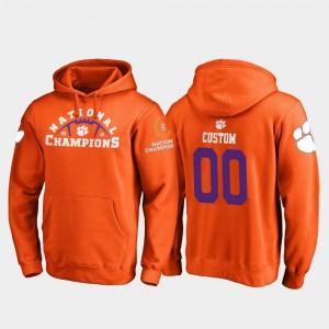 Clemson University Customized Hoodies Orange College Football Playoff Pylon 2018 National Champions #00 For Men's