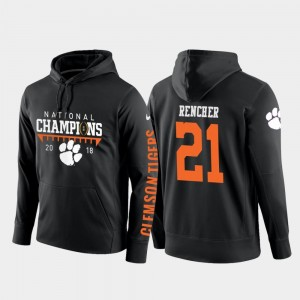 2018 National Champions Darien Rencher Clemson Tigers Hoodie Black #21 College Football Pullover For Men's