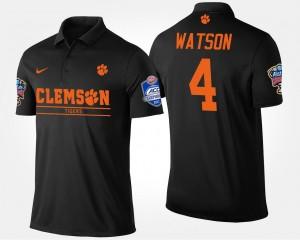 #4 Deshaun Watson Clemson University Polo Bowl Game Atlantic Coast Conference Sugar Bowl Name and Number Black Men's