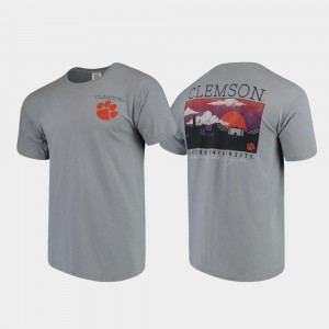 Clemson Tigers T-Shirt Gray Comfort Colors Campus Scenery For Men