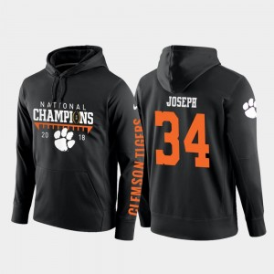 Men's Kendall Joseph Clemson Tigers Hoodie #34 College Football Pullover Black 2018 National Champions