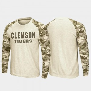 Men's Raglan Long Sleeve Desert Camo OHT Military Appreciation Oatmeal Clemson University T-Shirt