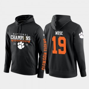 2018 National Champions #19 Black Mens Tanner Muse Clemson Hoodie College Football Pullover