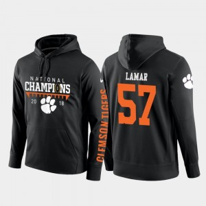 Tre Lamar Clemson University Hoodie Black #57 College Football Pullover Men's 2018 National Champions