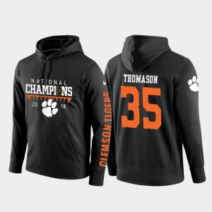 Mens College Football Pullover 2018 National Champions #35 Black Ty Thomason CFP Champs Hoodie