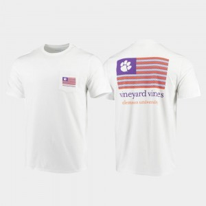 For Men White Clemson National Championship T-Shirt Vineyard Vines Americana Flag