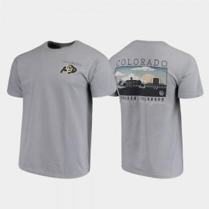 Campus Scenery UC Colorado T-Shirt For Men's Comfort Colors Gray