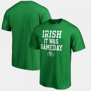 Mens Kelly Green Colorado Buffaloes T-Shirt St. Patrick's Day Irish It Was Gameday