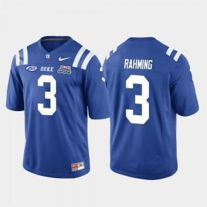 #3 Men's College Football Game Royal T.J. Rahming Duke Blue Devils Jersey 2018 Independence Bowl